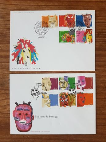"""Envelopes com selos """"Máscaras de Portugal"""""""