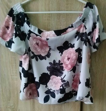 Bluzka typu hiszpanka z motywem róż - New Look