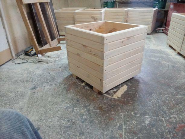 donice drewniane ogrodowe 50x50x50cm,impregnacja,folia