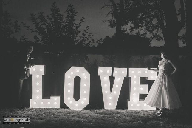 Napis LOVE na Wasze Wesele. Litery Love GLAMOUR