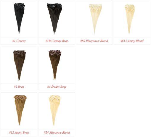 Taśmy CLIP IN Zestaw 40-50-60 cm Włosy EUROPEJSKIE NATURALNE 100 %