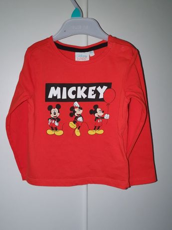 r.92 Disney Myszka Miki Mickey bluzka koszulka na długi rękaw czerwona