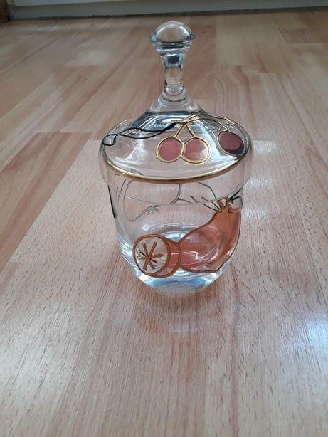 Piękna szklana cukiernica ręcznie zdobiona-łyżeczka gratis