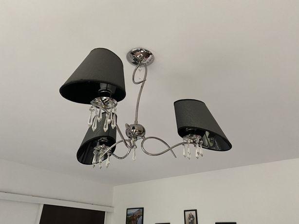 Lampa sufitowa wiszaca srebro czern 3punkty swiatla zyrandol