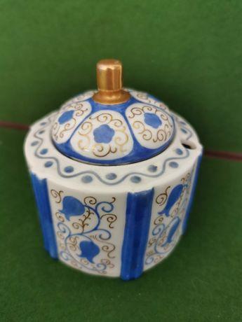 Raro tinteiro em porcelana Vista Alegre pintado à mão