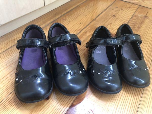 Туфли кожаные лаковые балетки Clarks размер 26-27