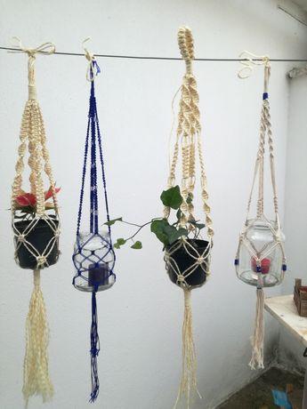 Artesanato suportes para flores e velas feito em corda