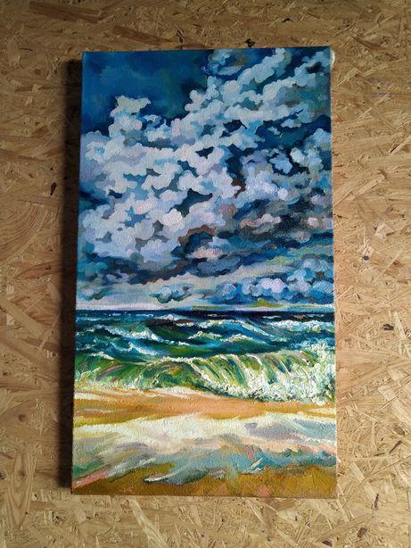 Морской пейзаж маслом на холсте, полотно на подрамнике. Размер 40х70