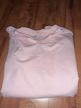 Cropp pudrowa jasno różowa koszulka S krótki rękaw
