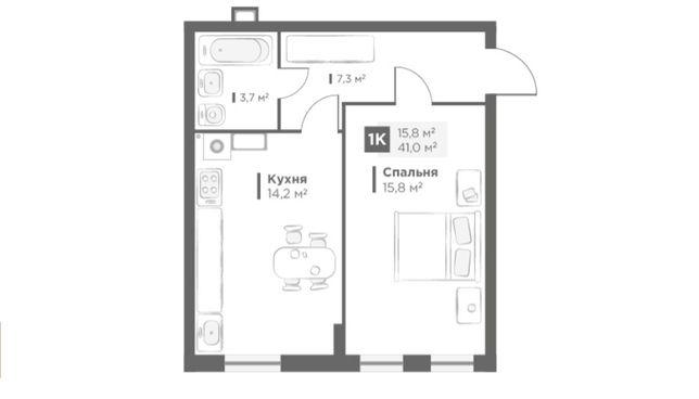 Продаж 1 кім. квартири в OBRIY2, Малоголосківська, 4 поверх, 41 кв.м