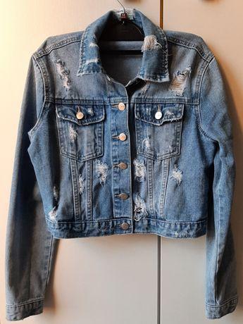 Kurtka jeansowa katana z przetarciami XS