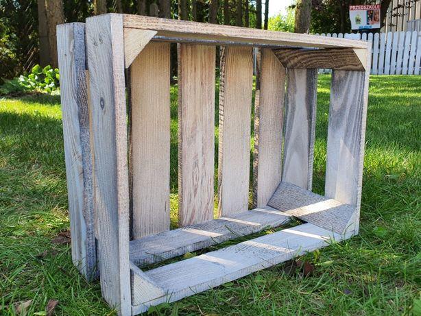 Skrzynka drewniana SZARA opalana/bielona jedynka 39 x 29 x 16 cm