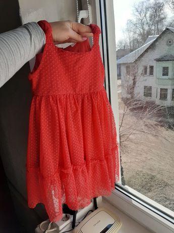 Платье 2-3 года праздничное красное фатин пышное бальное