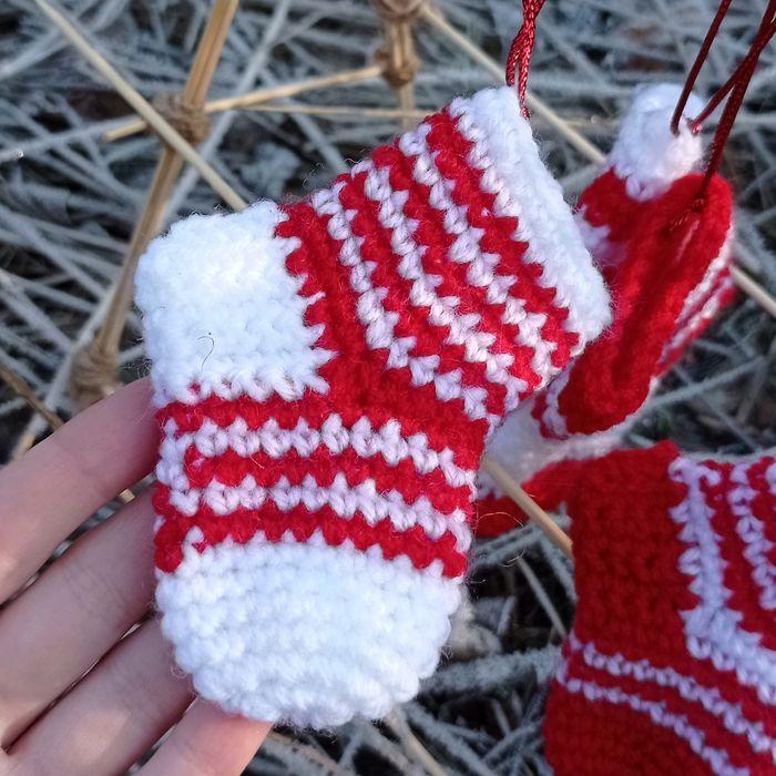 Новогодние украшения вязаный крючком носочек Купянск - изображение 1
