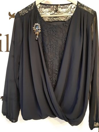 Bluzka damska szyfonowa i koronkowa z broszką  rozmiar L