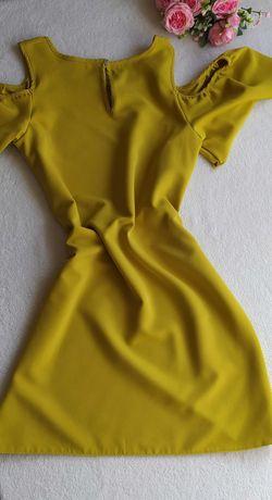 Sukienka damska limonka cold shoulders 38 M