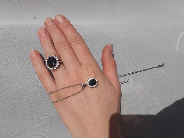 Срібний набір ланцюжок каблучка