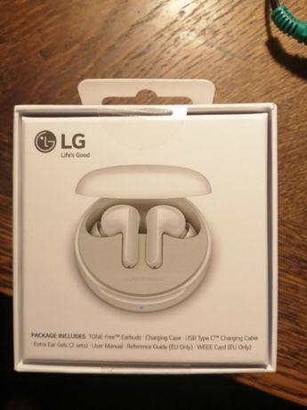 Słuchawki LG TONE Free FN4 Białe - NOWE !!
