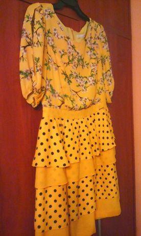 żółta nowa sukienka kwiaty ,kropki,awangardowy wzór