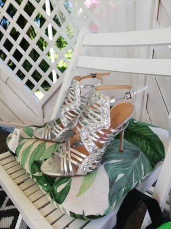 SHUTZ luksusowa sandałki srebrne skóra naturalna 37r wysyłka
