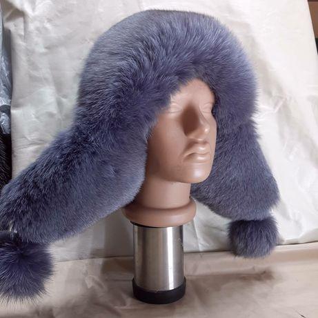 Зимняя кожанная шапка ушанка