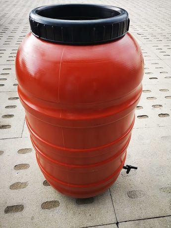 Beczka 220 l plastikowa z pokrywą + KRANIK. Łap deszczówkę, wodę.