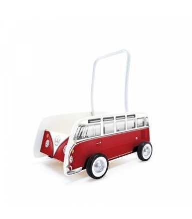 NOWY Pchacz chodzik wózek czerwony VW BUS T1 DREWNIANY , ROCZ