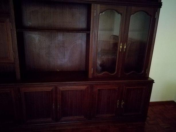 Móvel de sala TV e biblioteca em mogno maciço estilo antigo antigo