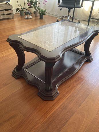 Mesa de centro em carvalho e marmore
