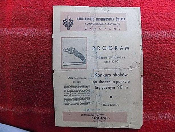 Program skoków narciarskich 1962r. Zakopane UNIKAT !!!