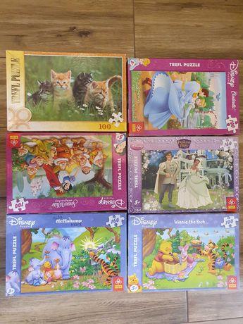 Puzzle Disneyx5 + Puzzle z kotkami