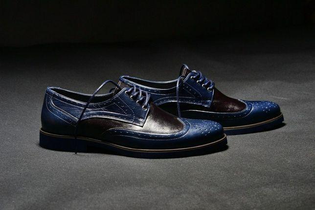 Кожаные туфли мужские. Кожаные броги. Кожаная обувь