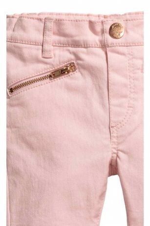 Spodnie rozowe treginsy jeansy jegginsy h&m zamki nowe r.98