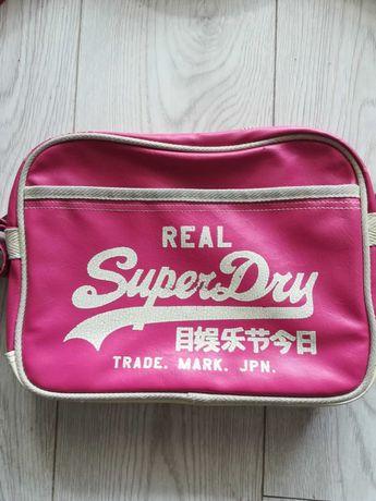 SUPERDRY PINK ORIGINAL Różowa Torba damska  Mini FLIGHT BAG  29cm*24cm
