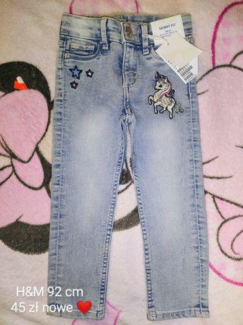 Nowe, prześliczne rurki jeansowe H&M rozmiar 92 cm mięciutkie