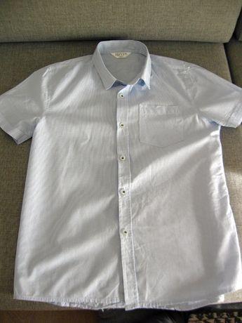 Zestaw koszula krótki rękaw błękitna krateczka + pulowerek r. 146cm