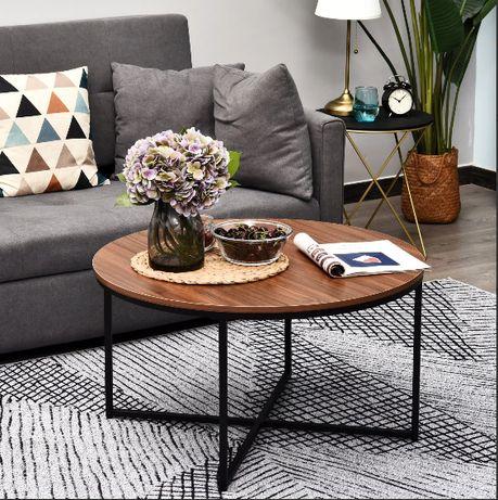 Okrągły stolik kawowy - brązowy