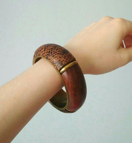 Bransoletka duża drewno metal skóra węża etno etniczna