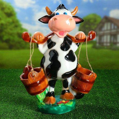 Керамическая корова для сада 47 см, корова с ведрами кашпо, декор