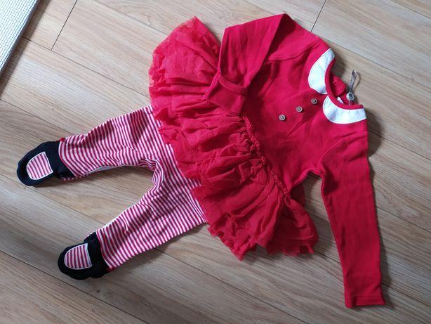 Strój świąteczny pajac ze spódniczką dla dziewczynki sesja 3-6 msc