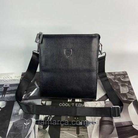 Мужская кожаная сумка барсетка Philipp Plein чоловіча шкіряна чёрная