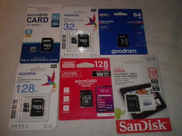 Karty Pamięci 16GB 32GB 64GB 128GB + Adapter [NOWE]