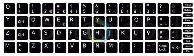 Teclado Autocolantes 13x13 preto para teclado layout Português
