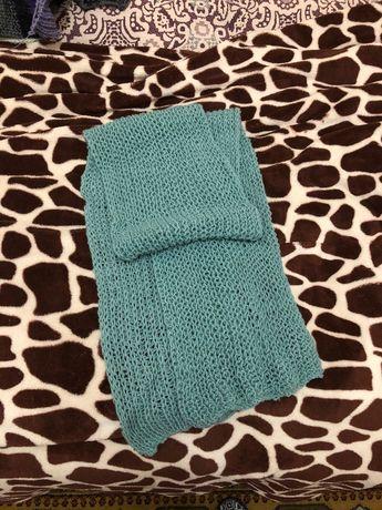 Вязаный шарф мятного цвета