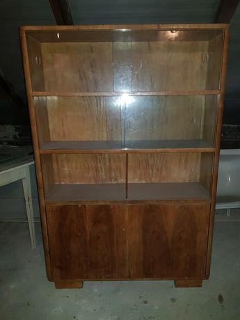 Biblioteczka witryna art deco szafka solidna vintage półki