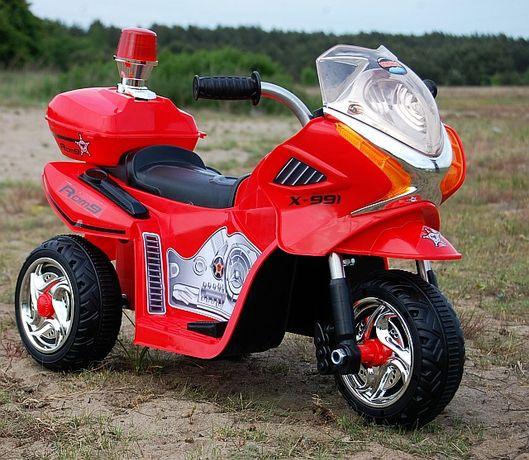 Motorek Policyjny z kogutem na akumulator