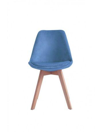 Krzesło Nowoczesne Tapicerowane Drewniane - Niebieskie