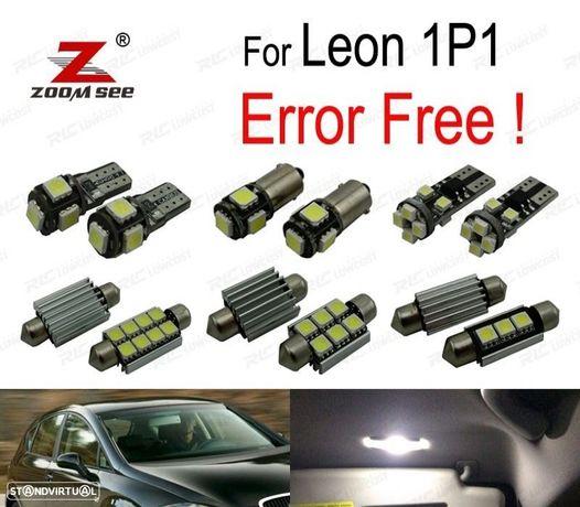 KIT COMPLETO DE 12 LÂMPADAS LED INTERIOR PARA LEON MK2 1 P 1P1 (2005-2012)