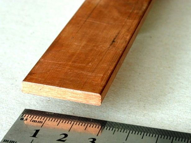 5x30 mm płaskownik miedziany miedź M1E 99,9% Cu dł. 100 mm