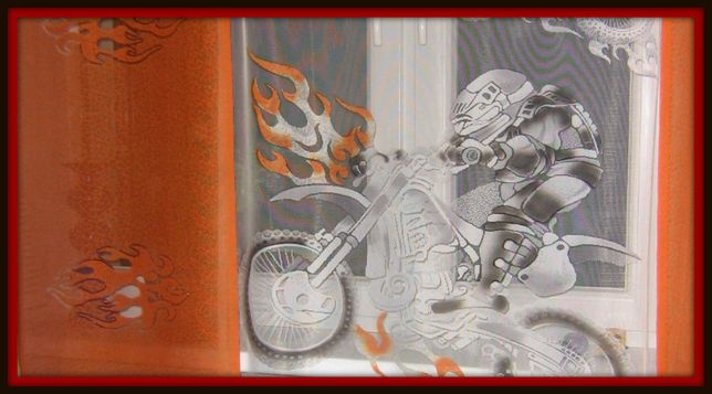 Komplet 3 sztuki Firany panele do pokuju chłopięcego motory motocross